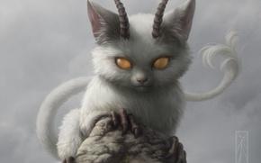Картинка кошка, скала, камень, демон, рога, зверек