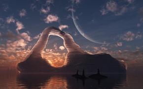 Обои море, айсберг, арка, киты, digital, Circumpolar