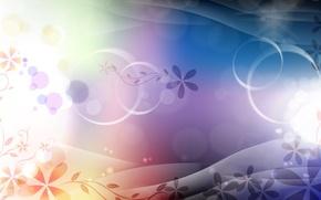 Картинка круги, цветы, узор, завитки, градиент, изгибы