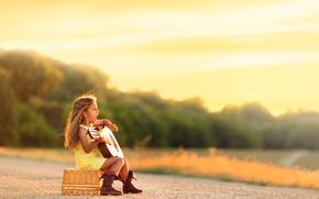 Картинка гитара, девочка, песня, Country Blues