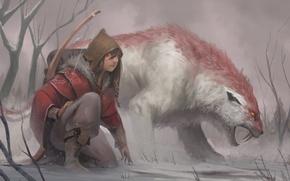 Картинка лук, арт, охота, зверь, следопыт, Josh Corpuz