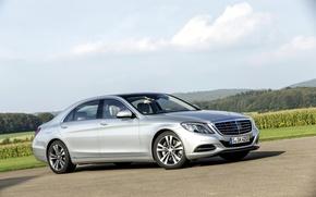 Картинка silver, автомобиль, флагман, Mercedes-Benz S550 2014, С-class, Мерседес С550