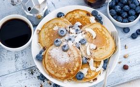 Обои кофе, завтрак, голубика, оладьи, панкейк