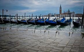 Картинка вода, река, улица, пристань, венеция, гондолы