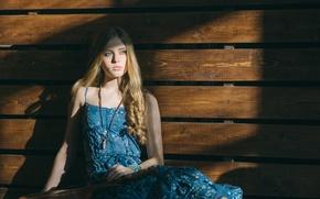 Картинка лето, взгляд, девушка, настроение, милая, модель, доски, портрет, платье, блондинка, кулон, красивая, Julia, young, голубоглазая, …