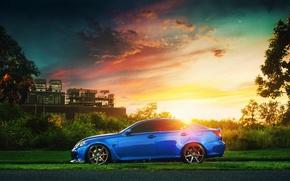 Картинка завод, Lexus, блик, blue, sun, profile, IS F