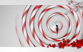 Картинка листья, девушка, красный, Спираль