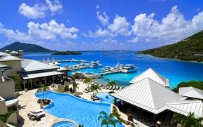 Картинка город, океан, пристань, бухта, бассейн, курорт, Карибы, resort, Caribbean, marina, Scrub Island