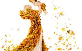 Картинка осень, листья, радость, женщина, ребенок, woman, autumn, leaves, child