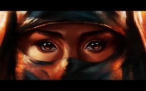 Картинка глаза, взгляд, девушка, Паранджа