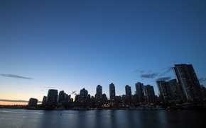 Картинка Canada, twilight, skyline, water, shore, buildings, downtown, Vancouver, yachts, skyscrapers, port, dock, docks, offices