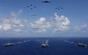 Обои ВМФ, море, флот, самолеты