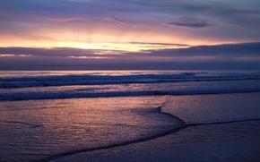 Обои море, облака, Волны