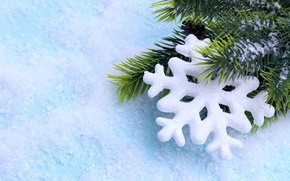 Обои merry christmas, new year, snow, snowflake