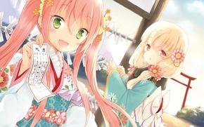 Картинка цветок, девушка, радость, настроение, праздник, игра, аниме, кимоно, иероглиф, cafe sourire