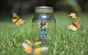 Картинка девушка, бабочки, природа, ситуация, банка