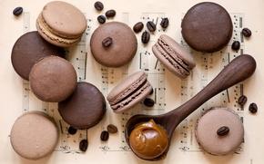 Картинка кофе, зерна, печенье, ложка, десерт, карамель, Anna Verdina, macaron, макарун