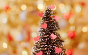 Обои ёлка, сердце, праздник