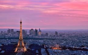 Картинка небо, город, здания, башня, париж, дома, горизонт, франция, улицы, эйфелева