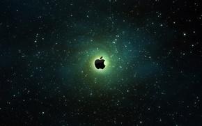 Обои галактика, космос, Apple
