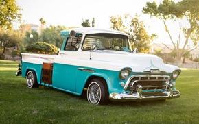Картинка ретро, Chevrolet, классика, пикап, 1957, pickup