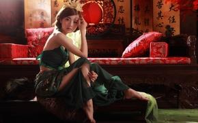 Картинка девушка, азиатка, декор, национальный, этно