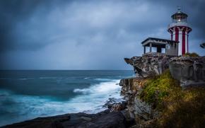 Обои скалы, New South Wales, маяк, Hornby Lighthouse, Австралия, побережье, Сидней, океан, Sydney
