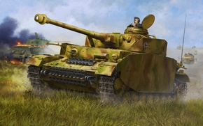 Картинка war, art, painting, tank, ww2, Pzkpfw IV Ausf. H