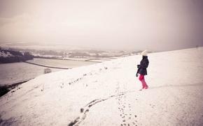 Картинка зима, девушка, снег, фото, девушки, настроение, холмы, настроения, прогулка
