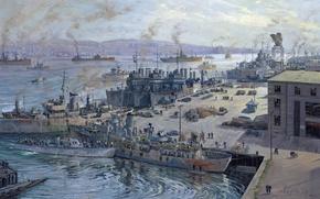 Картинка машины, люди, рисунок, здания, корабли, причал, арт, порт, Канада, John Horton, грузы, Галифакс
