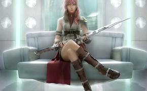 Обои воин, final fantasy xiii, меч, арт, девушка