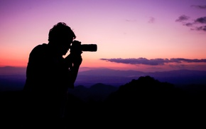 Картинка photo, sunset, silhouette, taking photographs