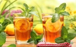 Обои салфетка, лимон, чай, стол, напиток, стаканы, мята, холодный чай, запотевшее стекло