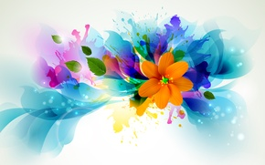 Картинка цветок, линии, брызги, лепестки, яркость