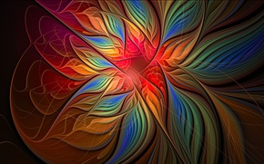 Картинка цветок, лучи, свет, линии, лепестки, объем