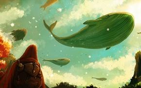 Картинка небо, люди, фантастика, киты
