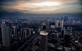 Картинка небо, машины, ночь, город, огни, фото, движение, здания, вечер, Istanbul