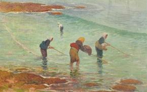 Картинка море, женщины, рыбалка, картина, жанровая, Henri Moret, Fisherwomen