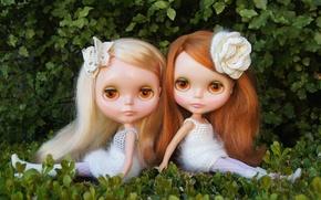 Обои природа, девочки, игрушки, куклы, сидят, длинные волосы