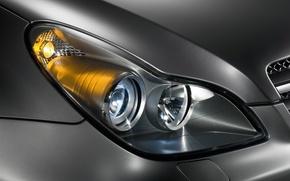 Обои машина, Mercedes-Benz, фара, CLS, C219, металик