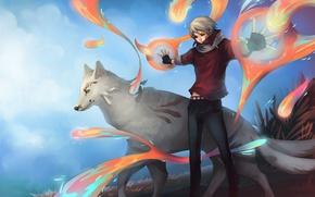 Обои madara, магия, арт, natsume yuujinchou, natsume takashi, волк, парень, UdonNodu
