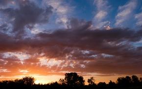 Картинка небо, облака, закат