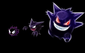 Картинка haunter, покемон, pokemon, gastly, неоновые линии, генгар, gengar, гастли, хонтер