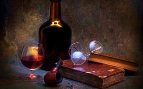Картинка вино, бокал, книги, трубка, A time to reflect