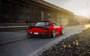 Картинка Mazda, Drift, Sun, RX-7, Wheels, Spoiler