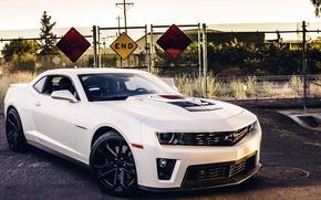 Картинка машина, авто, асфальт, забор, Chevrolet, Camaro, avto
