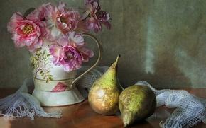 Обои цветы, натюрморт, груши
