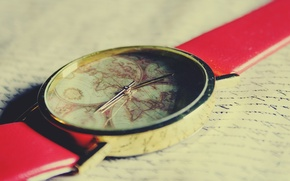 Картинка world, red, vintage, retro, old, map, clock