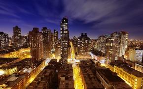 Картинка свет, ночь, город, Нью-Йорк, улицы, new york