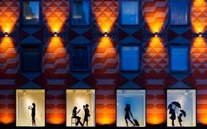 Картинка ночь, город, windows, night, style of the city, silhouettes